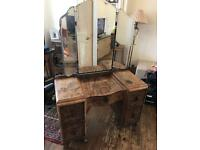 Antique walnut dressing table with mirrors