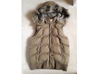Fat Face Gilet Body Warmer Quilted Padded Zip Thru Hood Jacket Khaki 8 / XS £80 VGC