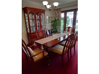 Extendable Dining Table with 6 chairs and Display Unit