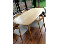 Mid century scandi style oak table and chairs