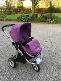 ICandy Apple Buggy with Carry cot, cosy toes, seat liner, waterproof covers, and car seat adapters