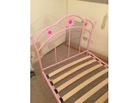 Girls pink bed frame and single mattress