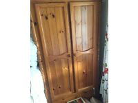 Pine wardrobe and bedside table