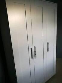 New Ikea BRIMNES wardrobe with 3 wooden doors(white)no mirror