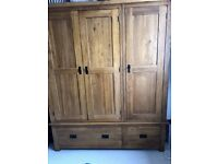 Rustic Solid Oak triple wardrobe