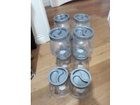 set of 10 storage jars, sweets, pasta etc. ideal kitchen storage