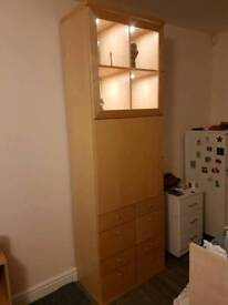 Ikea cabinet unit drawers with led lights beige cream