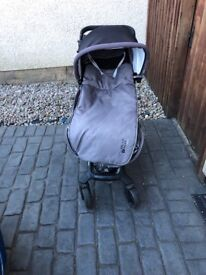 Original Jane grey and black pram with cosy toes and rain cover