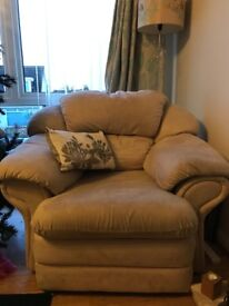 Cream 5 Seater Sofa and chair