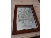 Beautiful Small Vintage Floral Etched Mirror With Dark Wood Frame