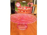 Pink clear glass cake stand