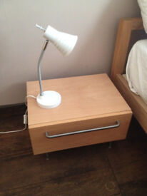 Two white desk / bedside lamps by Clas Ohlson