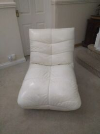 Cream Leather Lounge Game Relax Low Chair