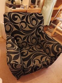 Armchair, black/grey swirl fabric