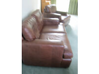 John Lewis Hector brown leather 3 piece suite