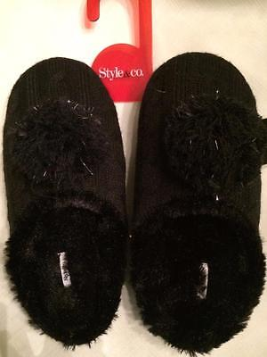 - Style & Co. Pom Pom Knit Mule House Slippers~Black/Silver Accents~Medium~NWT