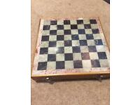 Indian wood and marble chess set.