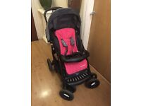 Hot pink Mothercare Deluxe 3 in 1 Complete Pram And Pushchair Travel System