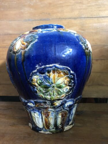 Antique large blue vase. Very detailed  and heavy. Quite old.