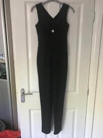 Black, fitted, cross back jumpsuit