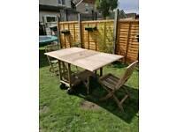 Teak garden table & 2 teak chairs