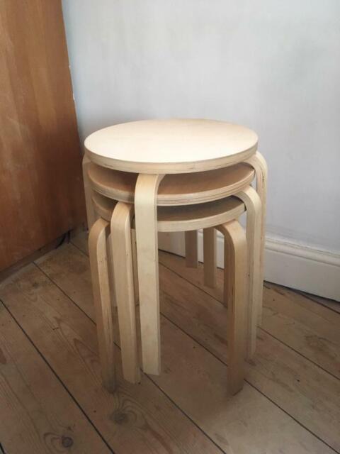 3 X Ikea Frosta Wooden Stools Round Birch Plywood In Hackney London Gumtree