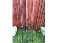 3 rod set up Nash rods shimano reels