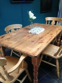Solid Antique Family Wooden Farmhouse Kitchen / Dining Room Table
