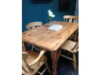 Chunky Family Wooden Farmhouse Kitchen / Dining Room Table with 4 chairs