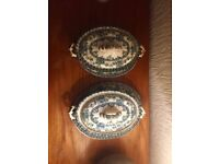 Warford 1790 Late Mayer x 2 Blue Serving Dishes with plates