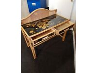 Lacquered Cane Desk (2 Drawers) Glass Top with Matching Screen and Framed Wall Mirror £90.00 ono