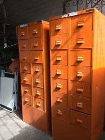 Pair Of Vintage Industrial Military / Aviation Filing Cabinets- can deliver
