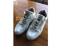 Mens White Vintage Reebok Classics Leather Trainers Pumps Size 8 90s Rave Hipster VGC