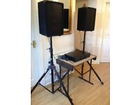 """Complete PA system / Disco system with 2 x 10"""" speakers + stands and a 250w+250w mixer amplifier."""