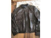 Armani designer brown men's leather jacket coat