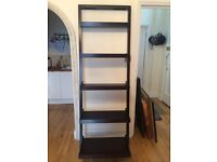 Crate and Barrell leaning shelving unit - dark wood