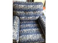 MOST BEAUTIFUL ARMCHAIR - 90 cm x 90 cm - MADE IN ITALY - VERY STYLISH BLUE - BARGAIN AT £450 -