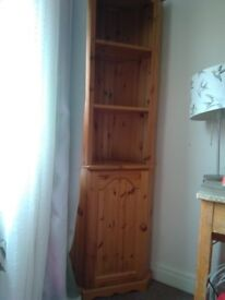 Corner unit two selfs and one unit with door ,comes in two parts ,good condition light weight
