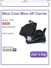 Maxi Cosi top of range capsule carseat - only couple months old Perth Region Preview