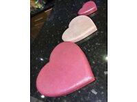 3 set pink love heart canvases