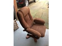 2 Swivel Recliner Chairs one with foot rest - Brown cord material £20.00 each