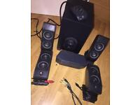 Logitech X-540 5.1 Surround Sound Speaker System /w Subwoofer and Control Wired