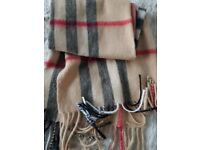 Ono Clasic style Cashmere Burberry Scarf. Size is 180cm x 32cm