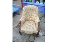 Splendid Antique Victorian Carved Walnut Spoon Back Fireside Armchair