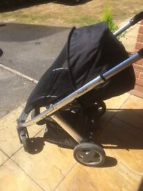 Black oyster pushchair good clean cond with net/shopping hook & basket