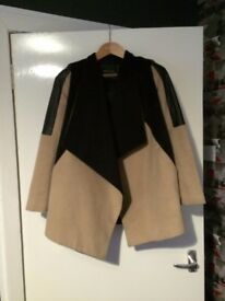 RIVER ISLAND expanded jacket mantle cape a la leather and felt oversize