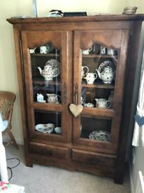 French oak display unit with storage draw .. NO OFFERS