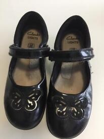 Clark's lights girls school shoes infant size 11G