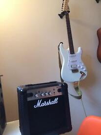 BRAND NEW Fender Squier electric guitar and Marshall MG10CF amp