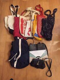 3 Handbags + 7 Totebags + 1 Backpack